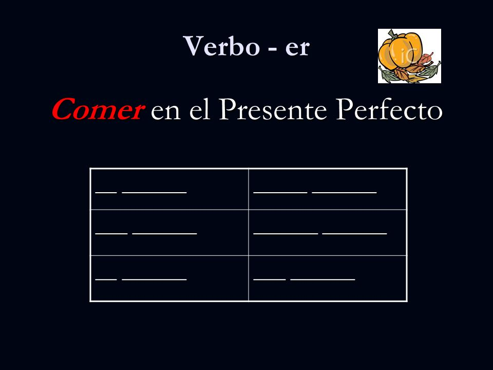 Verbo - er Comer en el Presente Perfecto __ ______ _____ ______