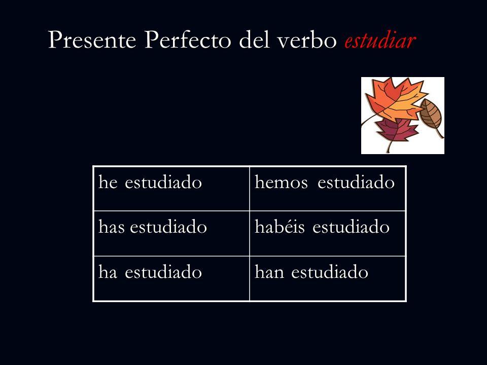 Presente Perfecto del verbo estudiar