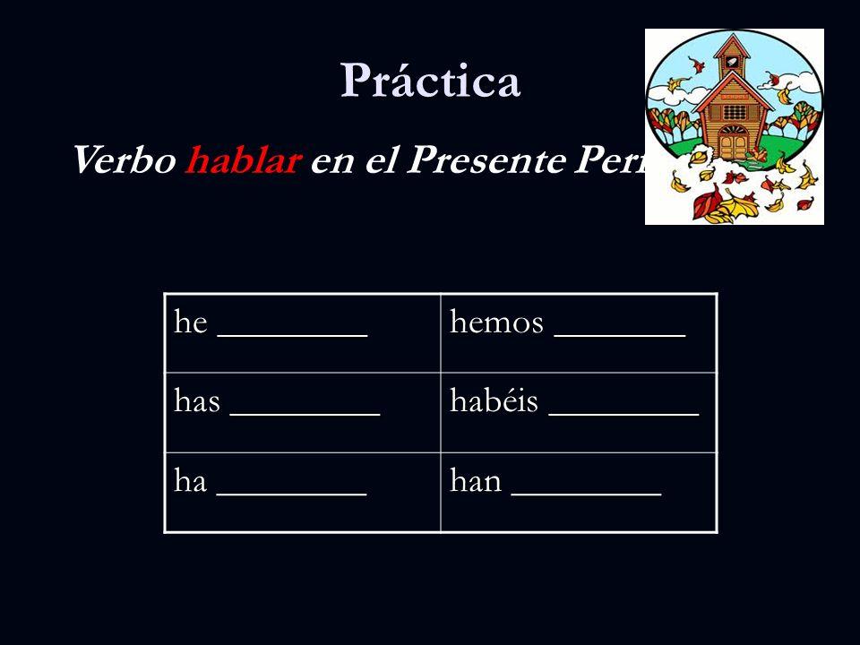Práctica Verbo hablar en el Presente Perfecto he ________