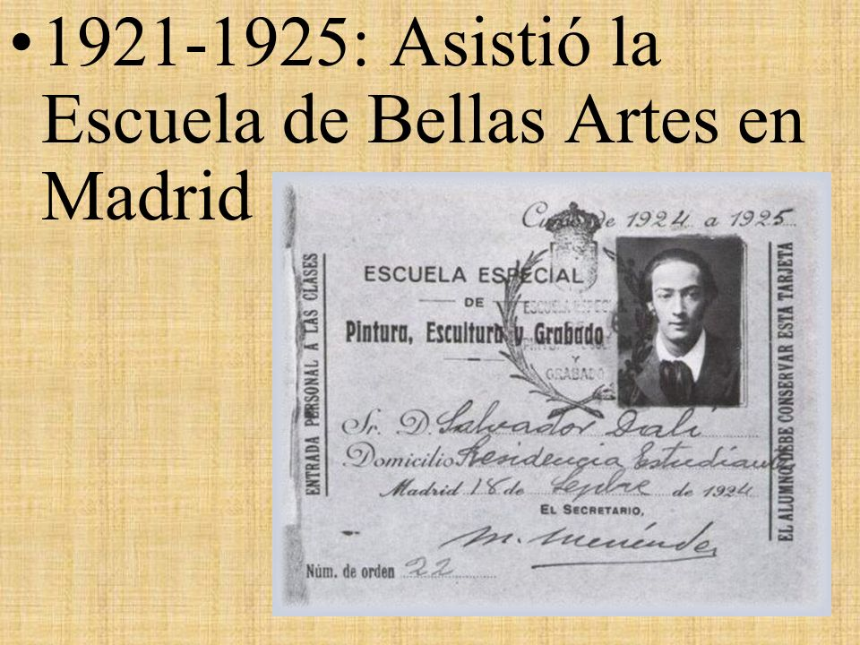 1921-1925: Asistió la Escuela de Bellas Artes en Madrid