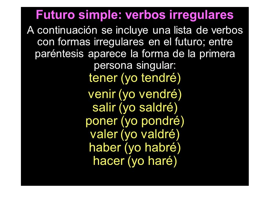 Futuro simple: verbos irregulares