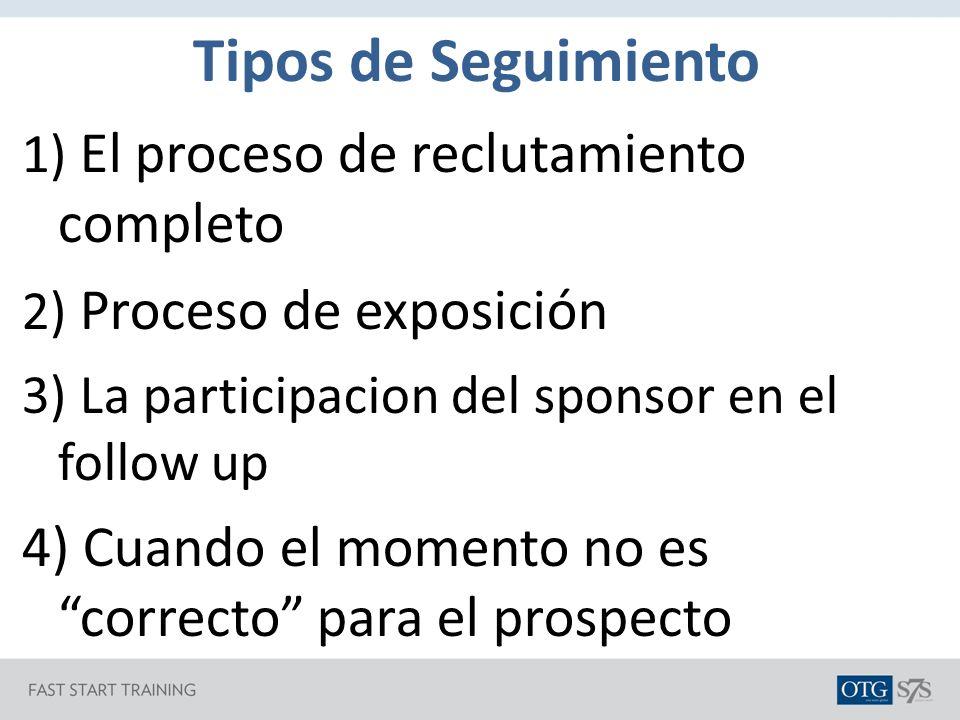 Tipos de Seguimiento El proceso de reclutamiento completo. Proceso de exposición. La participacion del sponsor en el follow up.