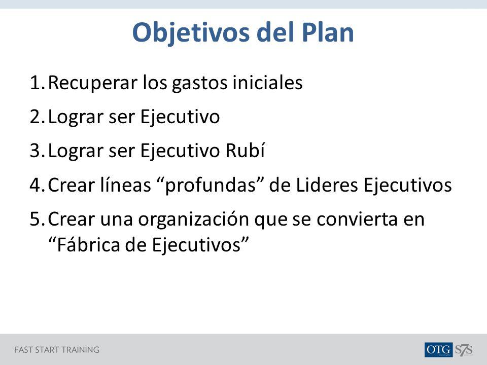 Objetivos del Plan Recuperar los gastos iniciales Lograr ser Ejecutivo