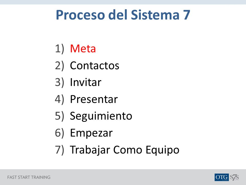 Proceso del Sistema 7 Meta Contactos Invitar Presentar Seguimiento