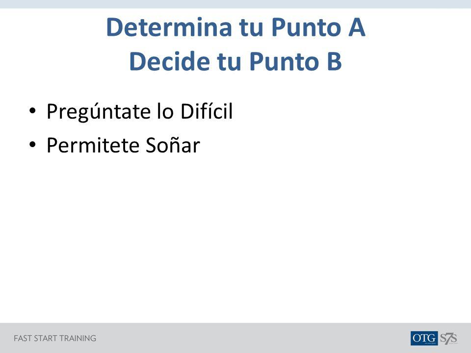 Determina tu Punto A Decide tu Punto B