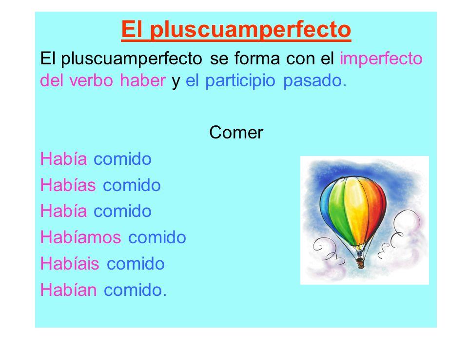 El pluscuamperfecto El pluscuamperfecto se forma con el imperfecto del verbo haber y el participio pasado.
