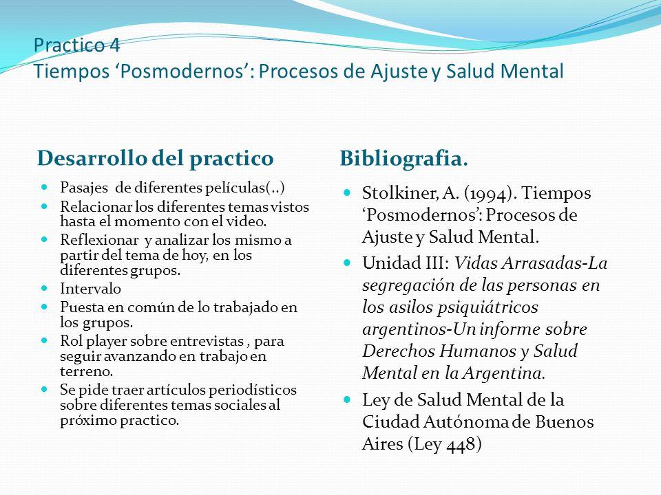 Practico 4 Tiempos 'Posmodernos': Procesos de Ajuste y Salud Mental