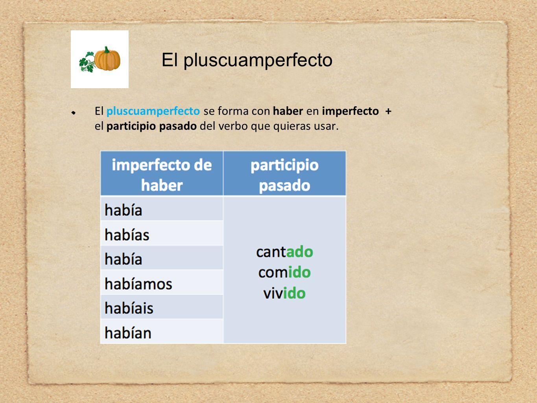 El pluscuamperfectoEl pluscuamperfecto se forma con haber en imperfecto + el participio pasado del verbo que quieras usar.