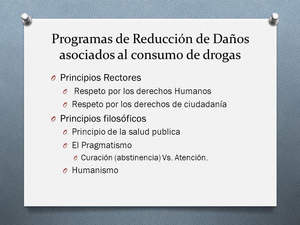 Programas de Reducción de Daños asociados al consumo de drogas