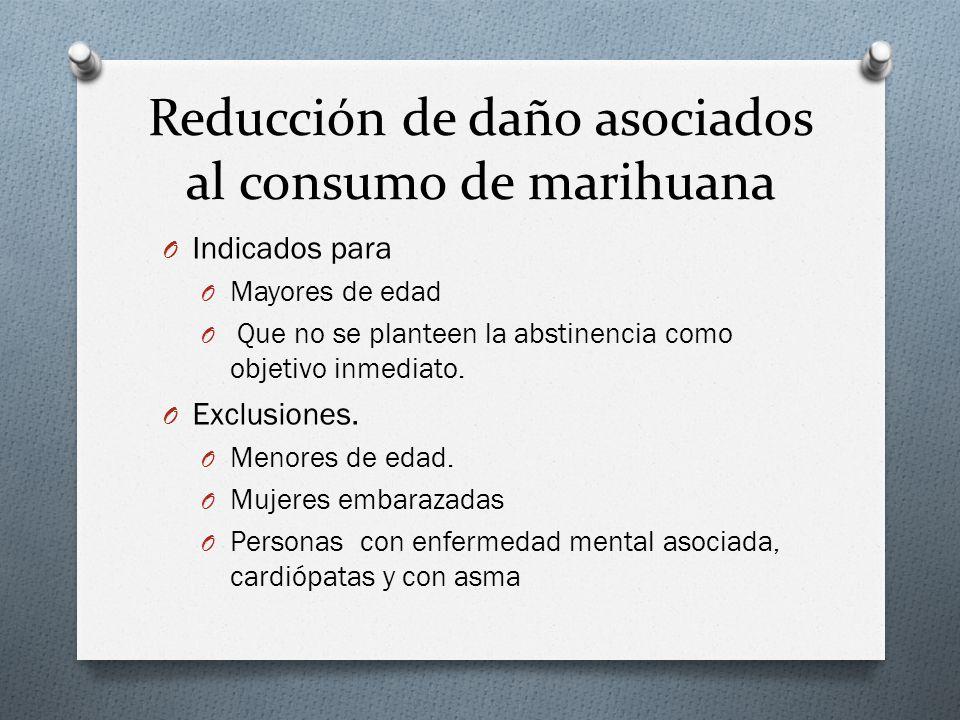 Reducción de daño asociados al consumo de marihuana