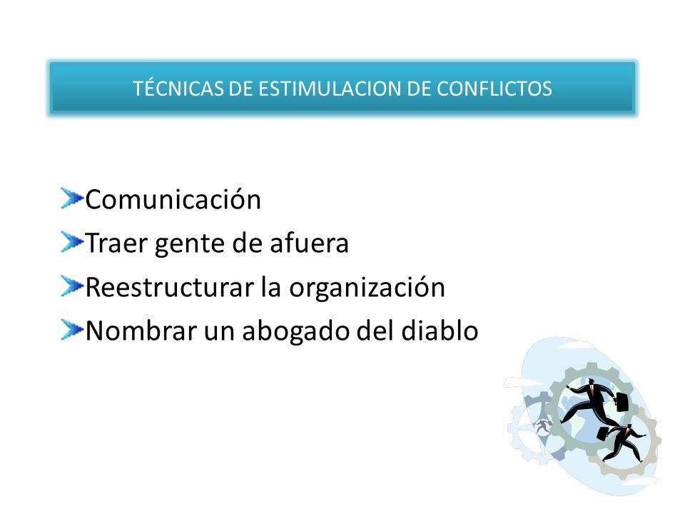 TÉCNICAS DE ESTIMULACION DE CONFLICTOS