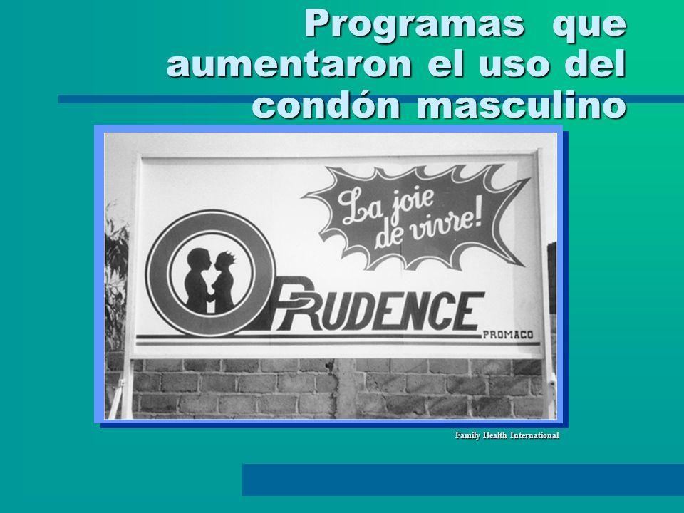 Programas que aumentaron el uso del condón masculino