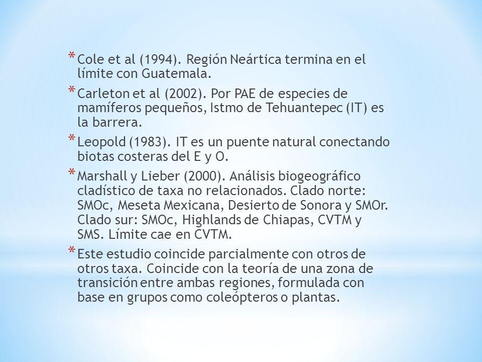 Cole et al (1994). Región Neártica termina en el límite con Guatemala.