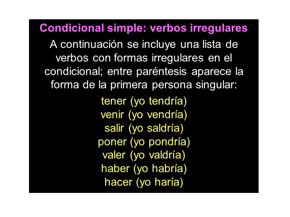 Condicional simple: verbos irregulares