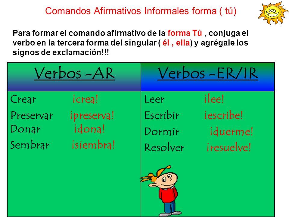 Comandos Afirmativos Informales forma ( tú)