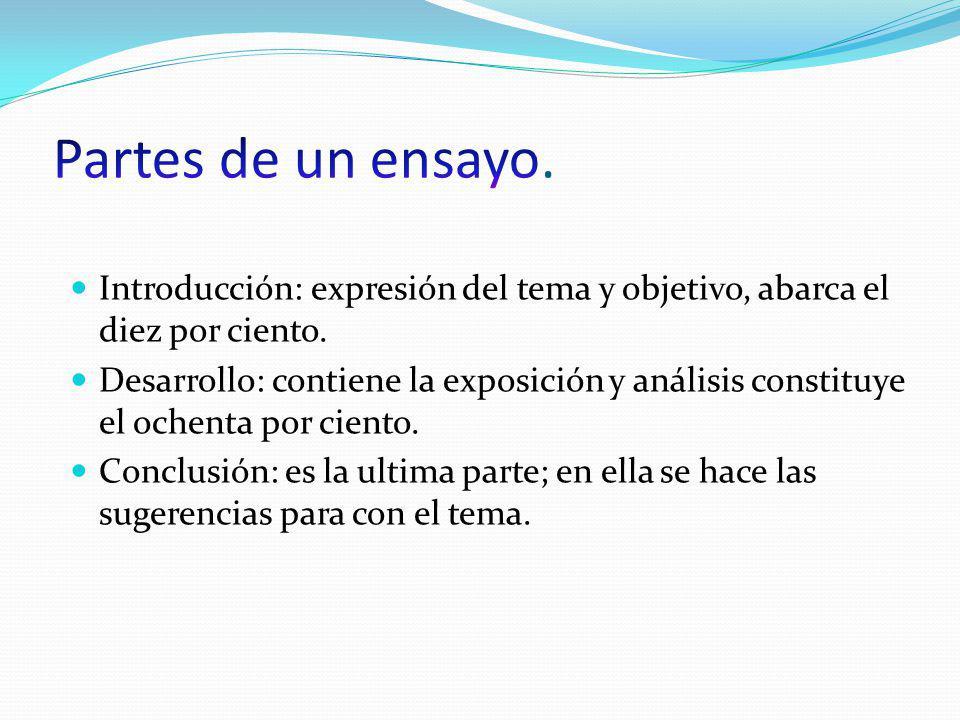 Partes de un ensayo. Introducción: expresión del tema y objetivo, abarca el diez por ciento.
