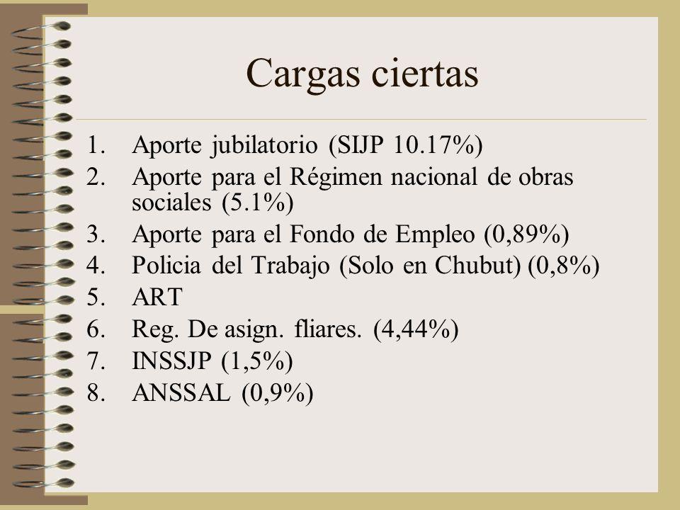 Cargas ciertas Aporte jubilatorio (SIJP 10.17%)