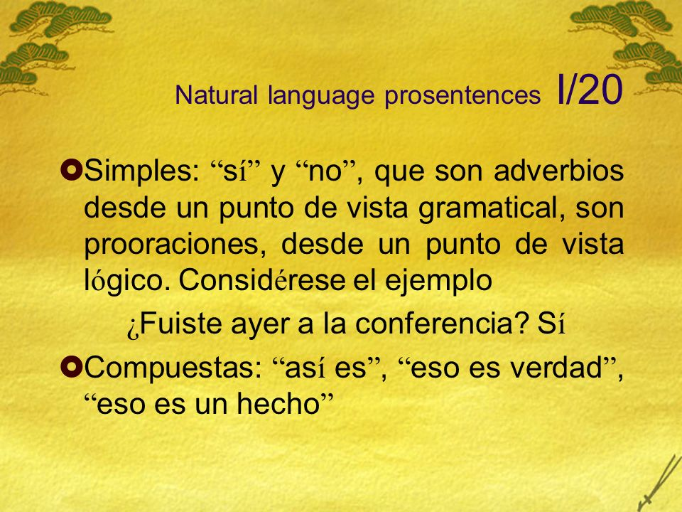 Natural language prosentences I/20