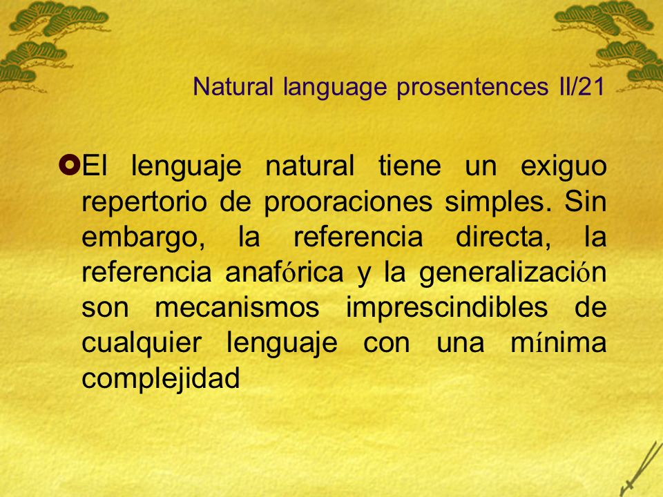 Natural language prosentences II/21