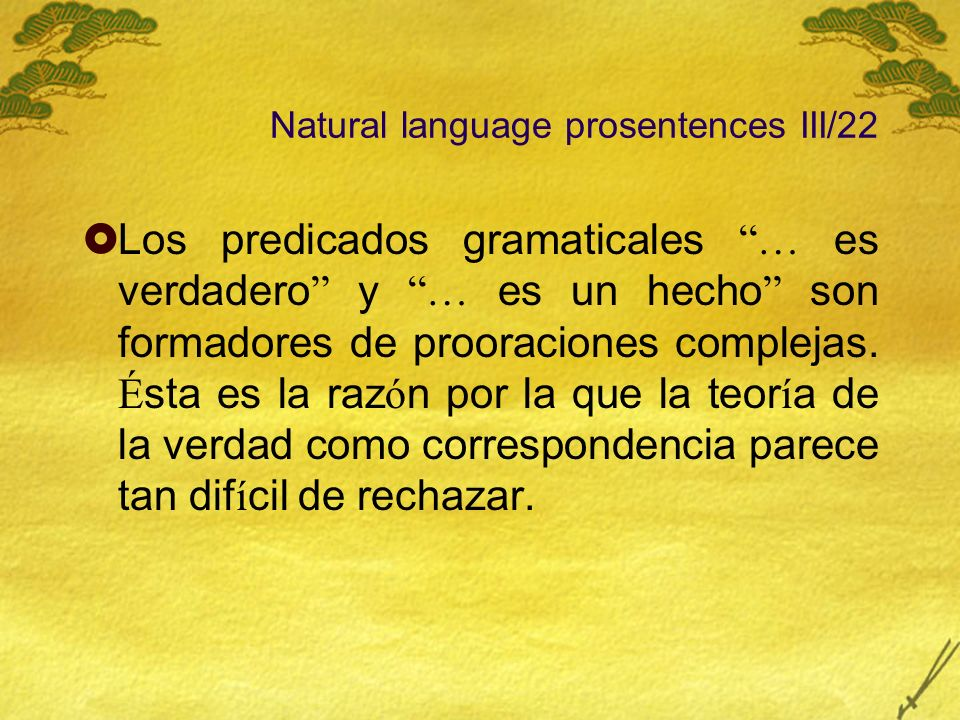Natural language prosentences III/22