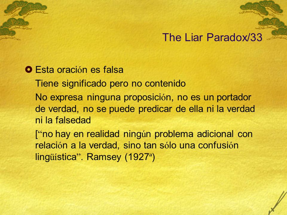 The Liar Paradox/33 Esta oración es falsa