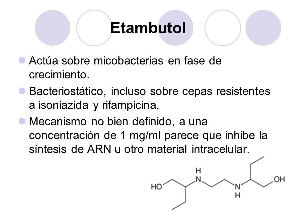 Etambutol Actúa sobre micobacterias en fase de crecimiento.