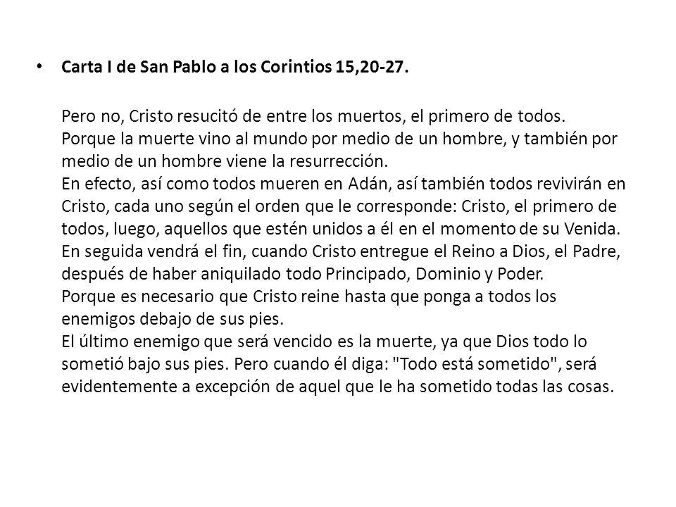 Carta I de San Pablo a los Corintios 15,20-27.