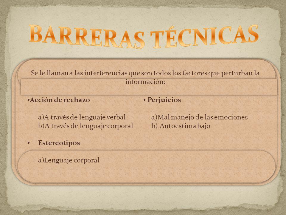 BARRERAS TÉCNICAS Se le llaman a las interferencias que son todos los factores que perturban la información: