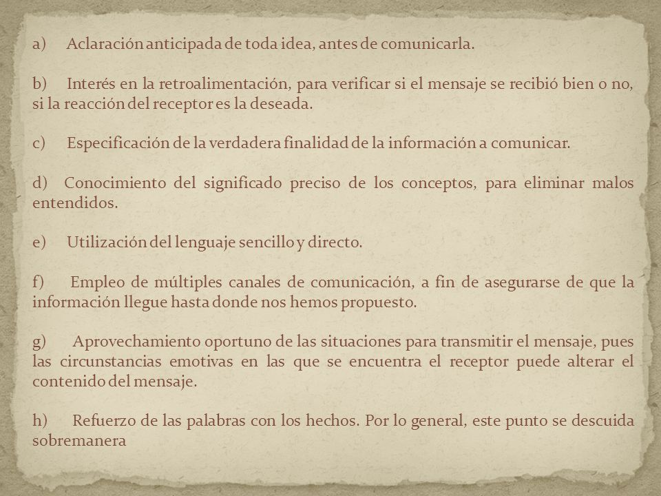 a) Aclaración anticipada de toda idea, antes de comunicarla.