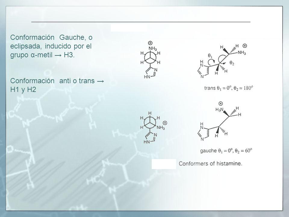 Conformación Gauche, o eclipsada, inducido por el grupo α-metil → H3.