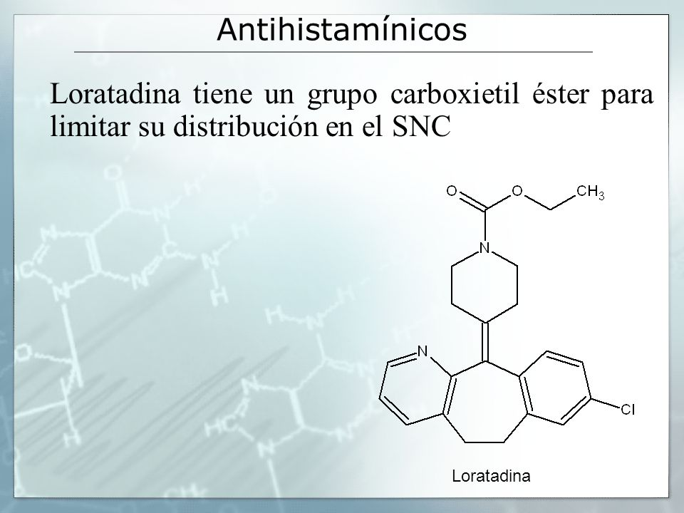 Antihistamínicos Loratadina tiene un grupo carboxietil éster para limitar su distribución en el SNC.
