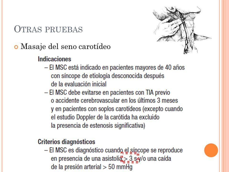 Otras pruebas Masaje del seno carotídeo