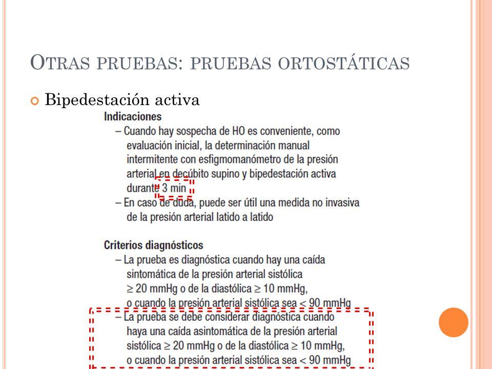 Otras pruebas: pruebas ortostáticas