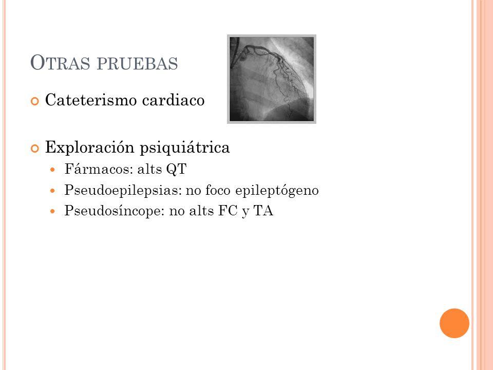Otras pruebas Cateterismo cardiaco Exploración psiquiátrica