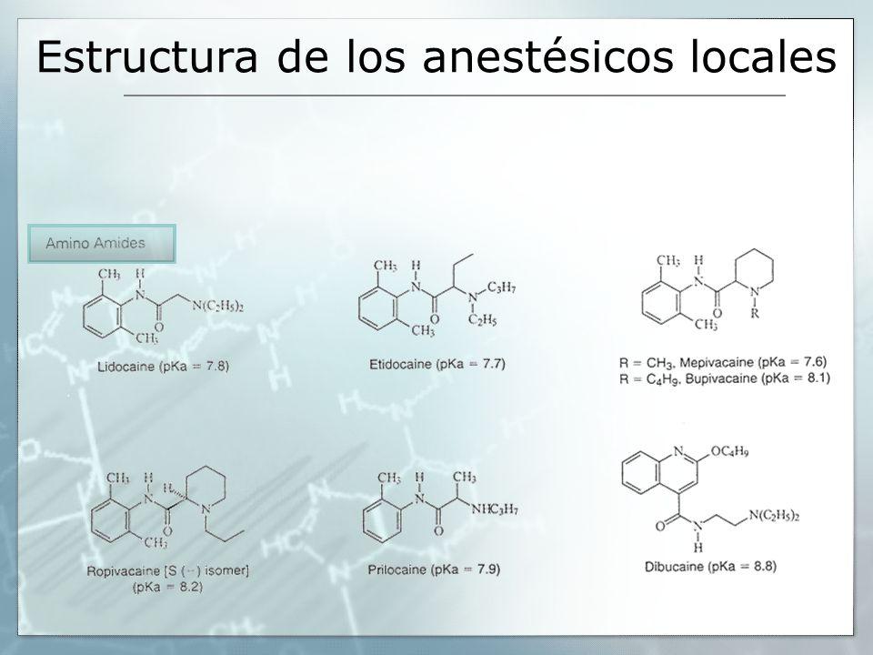 Estructura de los anestésicos locales