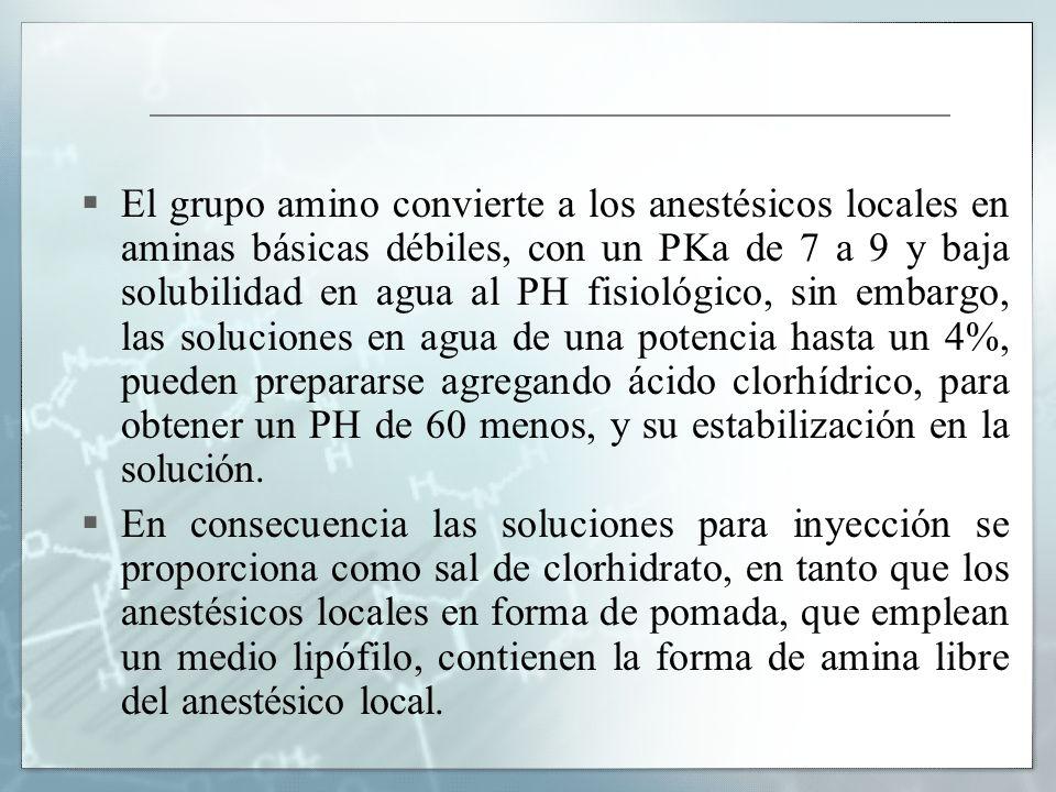El grupo amino convierte a los anestésicos locales en aminas básicas débiles, con un PKa de 7 a 9 y baja solubilidad en agua al PH fisiológico, sin embargo, las soluciones en agua de una potencia hasta un 4%, pueden prepararse agregando ácido clorhídrico, para obtener un PH de 60 menos, y su estabilización en la solución.