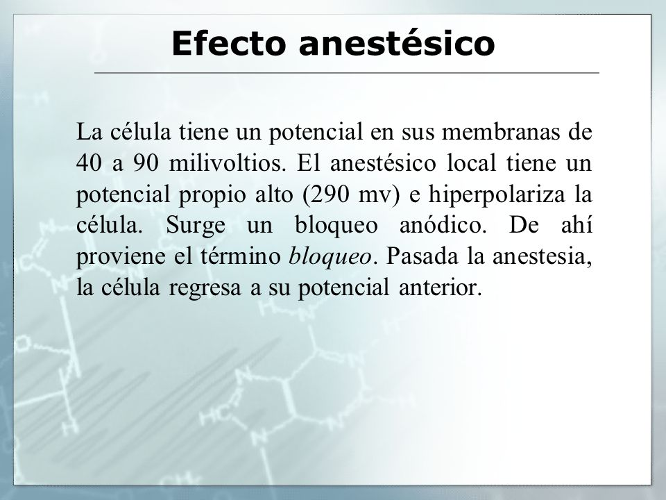 Efecto anestésico