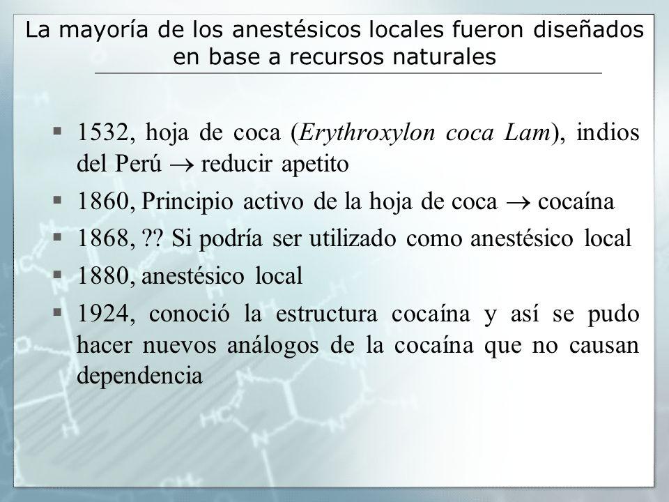 1860, Principio activo de la hoja de coca  cocaína
