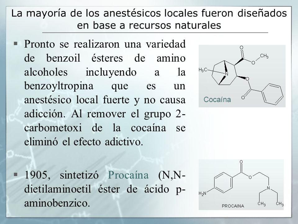La mayoría de los anestésicos locales fueron diseñados en base a recursos naturales