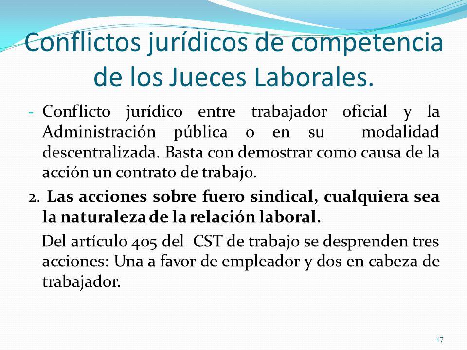 Conflictos jurídicos de competencia de los Jueces Laborales.