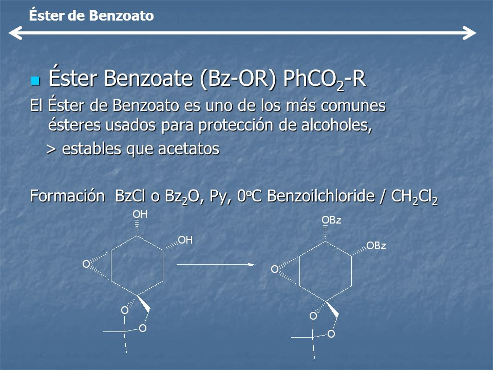 Éster Benzoate (Bz-OR) PhCO2-R
