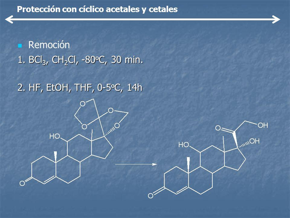 Remoción 1. BCl3, CH2Cl, -80oC, 30 min. 2. HF, EtOH, THF, 0-5oC, 14h