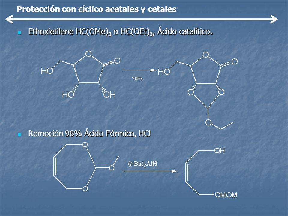 Protección con cíclico acetales y cetales