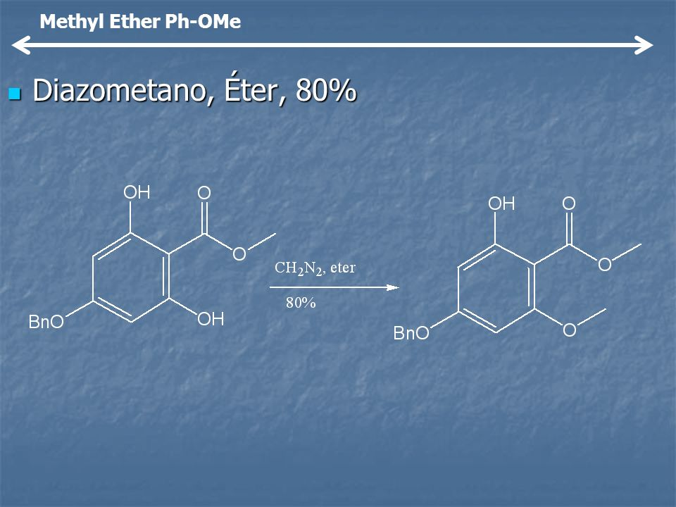 Methyl Ether Ph-OMe Diazometano, Éter, 80%