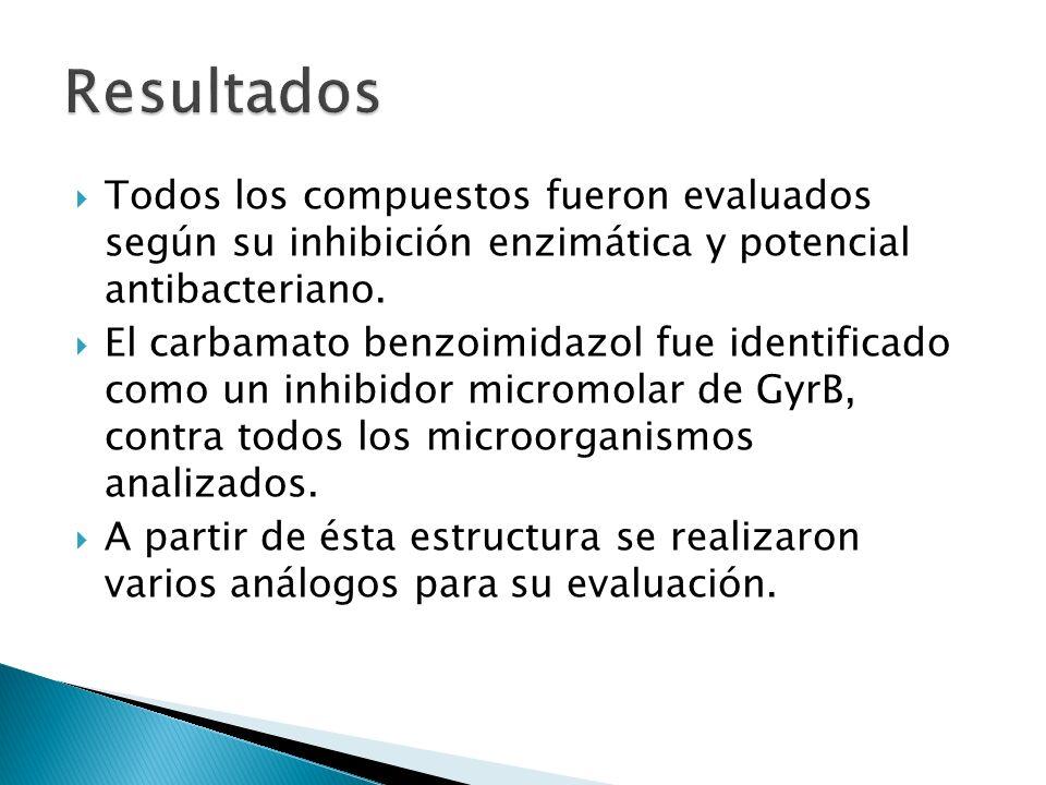 Resultados Todos los compuestos fueron evaluados según su inhibición enzimática y potencial antibacteriano.