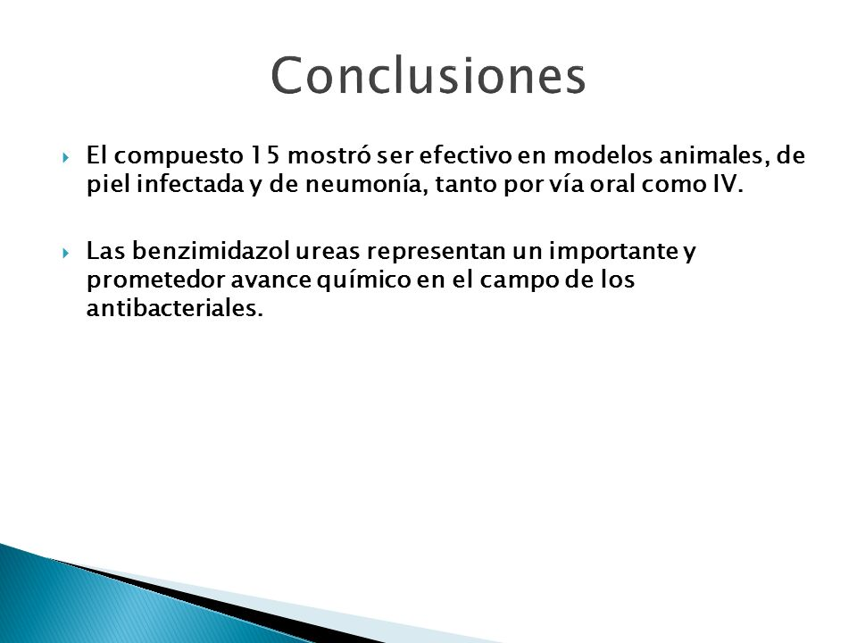 Conclusiones El compuesto 15 mostró ser efectivo en modelos animales, de piel infectada y de neumonía, tanto por vía oral como IV.