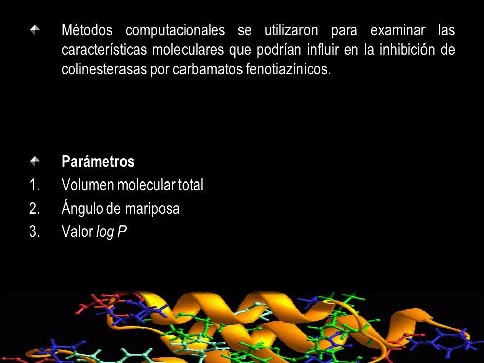 Métodos computacionales se utilizaron para examinar las características moleculares que podrían influir en la inhibición de colinesterasas por carbamatos fenotiazínicos.