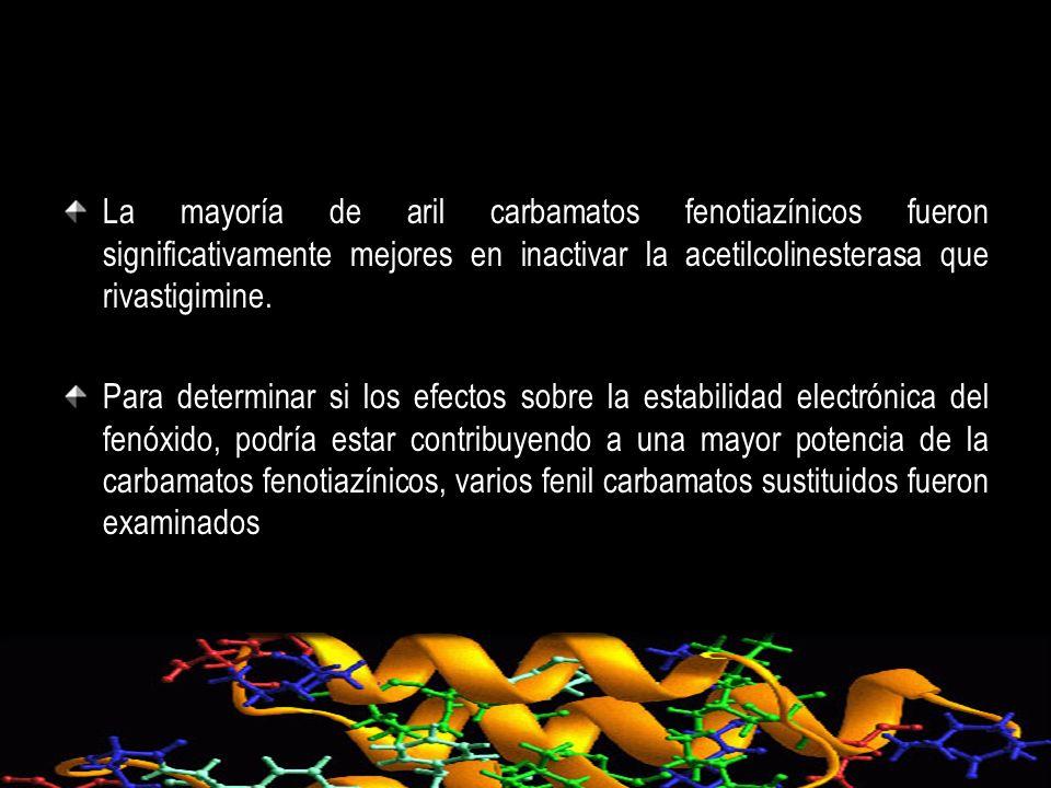 La mayoría de aril carbamatos fenotiazínicos fueron significativamente mejores en inactivar la acetilcolinesterasa que rivastigimine.