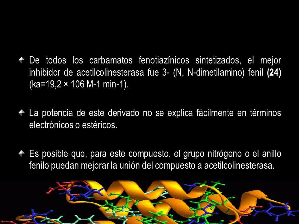 De todos los carbamatos fenotiazínicos sintetizados, el mejor inhibidor de acetilcolinesterasa fue 3- (N, N-dimetilamino) fenil (24) (ka=19,2 × 106 M-1 min-1).