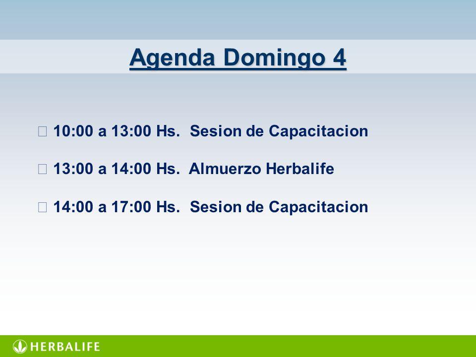 Agenda Domingo 4  10:00 a 13:00 Hs. Sesion de Capacitacion